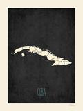 Black Map Cuba Print by Rebecca Peragine