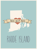 Rhode-Island State Map, Home Sweet Home Prints by Lila Fe