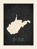 Black Map West Virginia Poster by Rebecca Peragine