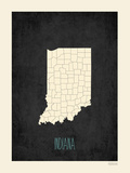 Black Map Indiana Posters by Rebecca Peragine