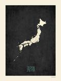 Mapa preto - Japão Pôsters por Rebecca Peragine