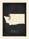 Black Map Washington Prints by Rebecca Peragine