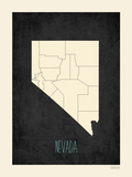 Black Map Nevada Print by Rebecca Peragine