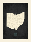Black Map Ohio Posters by Rebecca Peragine