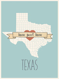 Texas State Map, Home Sweet Home Print by Lila Fe