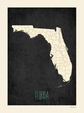 Black Map Florida Prints by Rebecca Peragine