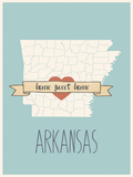 Arkansas State Map, Home Sweet Home Posters by Lila Fe