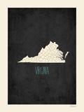 Black Map Virginia Prints by Rebecca Peragine