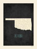 Black Map Oklahoma Prints by Rebecca Peragine