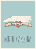 North-Carolina State Map, Home Sweet Home Print by Lila Fe