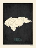 Honduras - Mapa negro Láminas por Rebecca Peragine