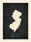 Black Map New Jersey Print by Rebecca Peragine