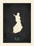 Black Map Finland Posters by Rebecca Peragine