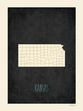 Black Map Kansas Posters by Rebecca Peragine