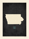 Black Map Iowa Print by Rebecca Peragine