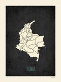 Mapa preto - Colômbia Posters por Rebecca Peragine