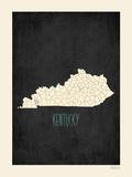 Black Map Kentucky Poster by Rebecca Peragine