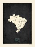 Black Map Brazil Posters by Rebecca Peragine