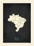 Mapa preto - Brasil Pôsters por Rebecca Peragine
