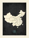 Black Map China Prints by Rebecca Peragine