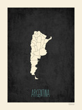Mapa preto - Argentina Pôsters por Rebecca Peragine