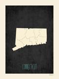 Black Map Connecticut Posters by Rebecca Peragine