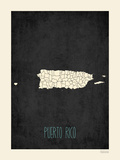 Black Map Puerto Rico Posters by Rebecca Peragine