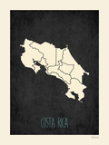 Black Map Costa Rica Prints by Rebecca Peragine