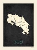 Costa Rica - Mapa negro Láminas por Rebecca Peragine