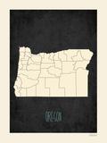 Black Map Oregon Posters by Rebecca Peragine