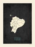 Mapa preto - Equador Pôsteres por Rebecca Peragine