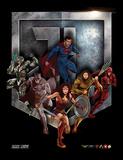 La Liga de la Justicia - Escudo y superhéroes Lámina de coleccionista