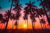 Silhouette Coconut Palm Trees on Beach at Sunset. Vintage Tone. Photographic Print by Nuttawut Uttamaharad