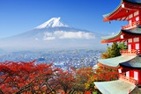 Mt. Fuji with Fall Colors in Japan. Photographic Print by Sean Pavone