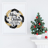 Couronne de Noël noire et or Autocollant mural