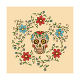 Hand Drawn Day of the Dead Colorful Skull with Floral Ornament in Flower Garland Photographic Print by  a_bachelorette