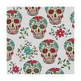 Hand Drawn Day of the Dead Colorful Sugar Skull with Floral Ornament and Flower Seamless Pattern. G Photographic Print by  a_bachelorette