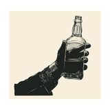 Male Hand Holding Bottle of Whiskey. Hand Drawn Design Element. Engraving Style. Vector Illustratio Photographic Print by  jumpingsack