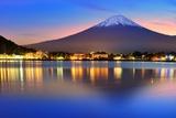 Mt. Fuji, Japan at Lake Kawaguchi after Sunset. Photographic Print by Sean Pavone
