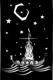 Woodcut Style Image of a Viking Chief Being Burned on a Longboat at Night. Photographic Print by Jef Thompson