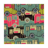 Textile Seamless Pattern of Colored Buses Photographic Print by Dark ink