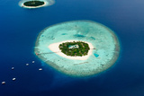 Aerial View of Two Maldive Islands and Boats. Photographic Print by  ArtTomCat