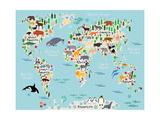 Animal Map of the World for Children and Kids Fotografisk tryk af  Moloko88