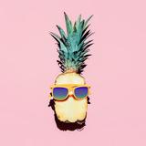 Hipster Pineapple Fashion Accessories and Fruits. Vanilla Style. Photographic Print by Evgeniya Porechenskaya