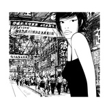 Hand Drawing of a Chinese Girl in Hong Kong (Vector) (All the Signs are Fictitious) Photographic Print by  isaxar