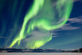 Spectacular Northern Lights or Aurora Borealis or Polar Lights Dancing over Moon-Lit Winter Landsca Photographic Print by  Pi-Lens