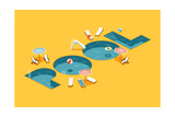 Cool Vector Creative Concept Design on Isometric Letters Shaped Swimming Pool with Chaise Lounges, Photographic Print by Mascha Tace