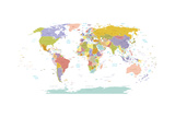 High Detail World Map.All Elements are Separated in Editable Layers Clearly Labeled. Vector Photographic Print by  ekler