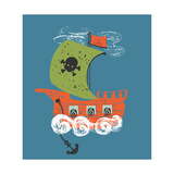 Pirate Ship/Hand Drawn Vector Illustration/Can Be Used for Kid's or Baby's Shirt Design/Textile Pri Photographic Print by Eteri Davinski