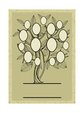 Vector Family Tree Design with Frames and Autumn Leafs. Place for Text Photographic Print by  Kynata